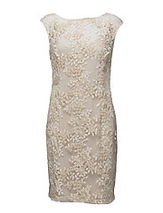 Embroidered Floral Dress - IVORY/GOLD META