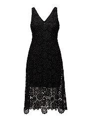 Lace Midi Dress - BLACK