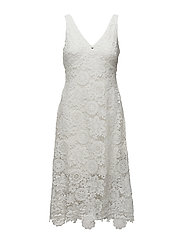 Lace Midi Dress - WHITE