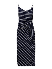 Striped Tie-Front Maxidress - LIGHTHOUSE NAVY