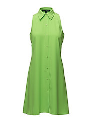 Crepe Fit-and-Flare Dress - KEY LIME