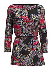 DRATALIA - 3/4 SLV BOATNECK TUNIC - BLACK MULTI