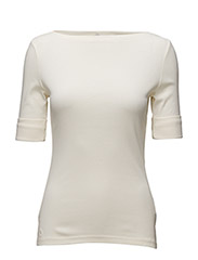 COTTON BOATNECK TOP - MODERN CREAM
