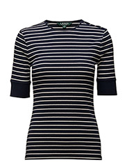 STRIPED LACE-UP TOP - NAVY/ANTIQUE IV