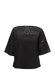Eyelet-Embroidered Top - POLO BLACK