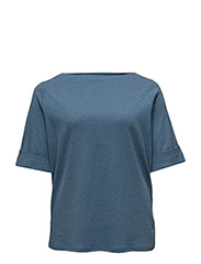 BENNY-ELBOW SLEEVE-KNIT - SHALE BLUE HEATHER