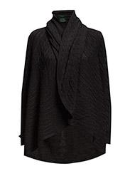 VITTORIA - L/S SHAWL CLR CARDG - BLACK
