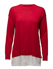 LAYERED LONG-SLEEVE SWEATER - BRILLIANT RED