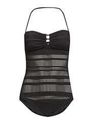HORIZON CROCHET BANDEAU ONE-PIECE - BLACK