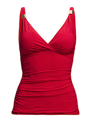 LAGUNA SOLIDS - SHIRRED SURPLICE TANKINI TOP - RED