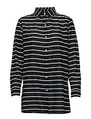 Striped Cotton Cover-Up - BLACK/WHITE
