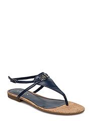 Anita Glazed Leather Sandal - SAILING NAVY