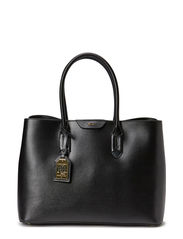 Leather Tate City Tote - BLACK/BLACK