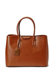 Leather Tate City Tote - LAUREN TAN/COCO