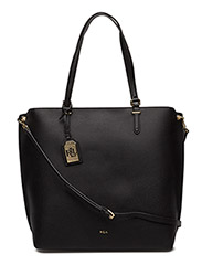 Medium Faux-Leather Abby Tote - BLACK