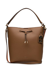 Leather Debby Drawstring Tote - FIELD BROWN/MON