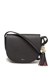 Leather Mini Caley Saddle Bag - BLACK/CRIMSON