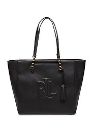 Halee Pebbled Leather Tote - BLACK