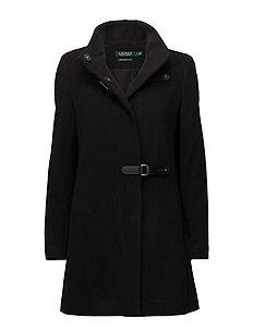 Wool-Blend Mockneck Coat - BLACK