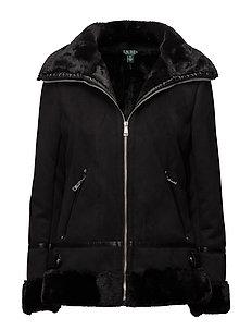 Faux-Shearling Moto Jacket - BLACK