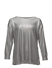 Metallic Cotton-Blend Sweater - STERLING GREY HEATHER