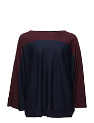 Colour-Blocked Poncho Sweater - RED SANGRIA/RL NAVY
