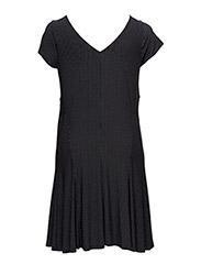 FALZARA - CAP SLV VNECK DRESS - BLACK/PEARL