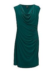 Jersey Cowlneck Dress - OCEAN EMERALD