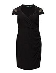 KASHARA - SHORT SLEEVE DRESS - BLACK/BLACK