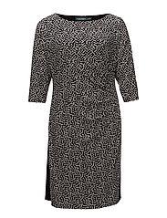 Contrast-Panel Jersey Dress - BLACK/COL CREAM