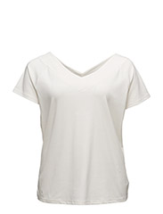 AKILI - S/S V NCK TOP - FRENCH CREAM