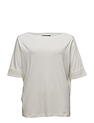 COTTON BOATNECK TOP - ANTIQUE IVORY