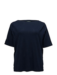 COTTON BOATNECK TOP - NAVY