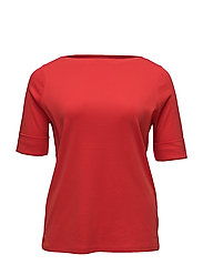 COTTON BOATNECK TOP - FRESH TOMATO