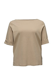 COTTON BOATNECK TOP - PALE WHEAT