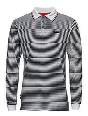 Stripe Sports Polo LS - NAVY/WHITE