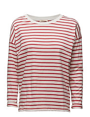 Lee Jeans - Ls Stripe Tee Faded Red