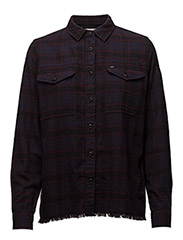 FRAYED HEM SHIRT - DEEP PLUM