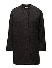WOOL COCOON COAT - DARK GREY MELE