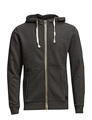 ZIP HOODIE DARK GREY MELE - DARK GREY MELE