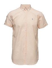 Shirt SS Seersucker - ORANGE/WHITE