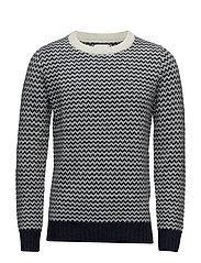 Wool Knitwear Dewsbury - NAVY/WHITE