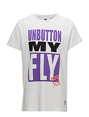SS Mighty Graphic Tee - UNBUTTON MY FLY WHITE