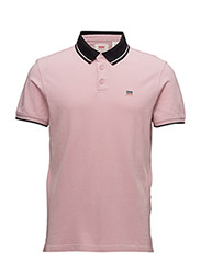 BREAKER LOGO POLO - SPORTSWEAR POLO PINK WITH CONTRAST TIPPING