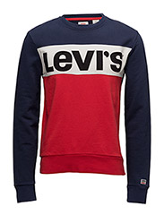COLORBLOCK CREWNECK - OLYMPIC PIECED CREWNECK PEACOAT / MARSHMALLOW / CHINESE RED W/ BLACK