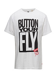 SS SURPLUS GRAPHIC TEE - BUTTON YOUR FLY WHITE