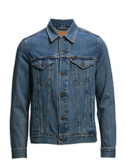 THE TRUCKER JACKET MED STONEWA - Med Indigo - Flat Finish