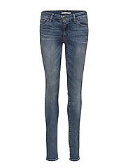 711 SKINNY ANTIQUED - MED INDIGO - WORN IN