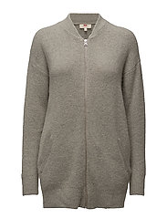 ZIP FRONT CARDI SNOW GREY HEAT - NEUTRALS