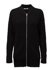 ZIP FRONT CARDI JET BLACK - BLACKS